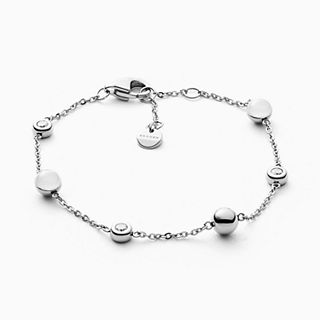 Sea Glass Silver-Tone Station Bracelet