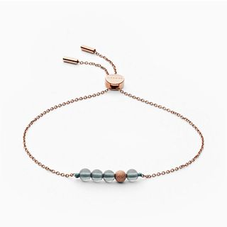 Anette Rose Tone And Green Bead Chain Bracelet