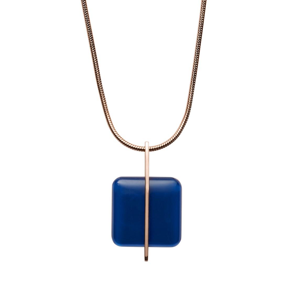Blue Sea Glass Rose-Gold-Tone Necklace  - SKJ1134791