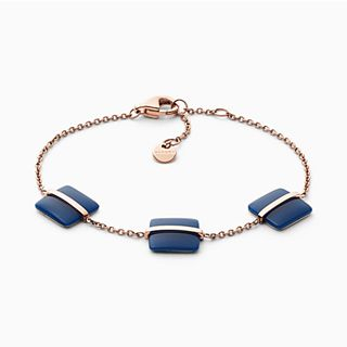 Blue Sea Glass Rose-Gold-Tone Bracelet