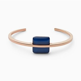 Blue Sea Glass Rose-Gold-Tone Bangle