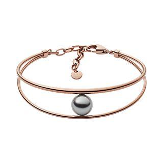 Agnethe Rose-Tone Gray Pearl Bracelet