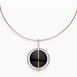 Ellen Onyx and Rose-Tone Necklace