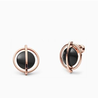 Ellen Onyx and Rose-Tone Stud Earrings