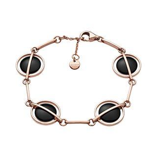 Ellen Onyx and Rose-Tone Bracelet