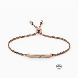 Helena Rose-Tone Genuine Diamond Mesh Bracelet