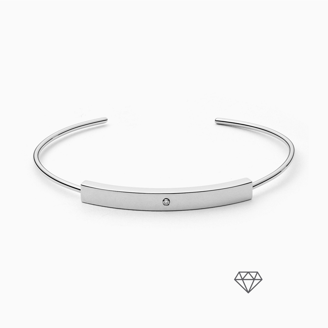 Helena Silver-Tone Genuine Diamond Bangle  - SKJ1163040