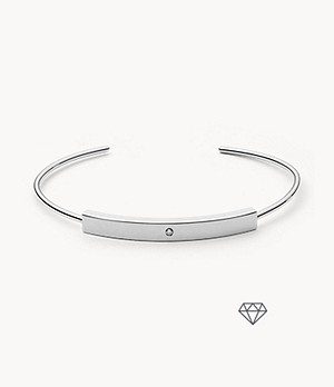 Helena Silver-Tone Genuine Diamond Bangle