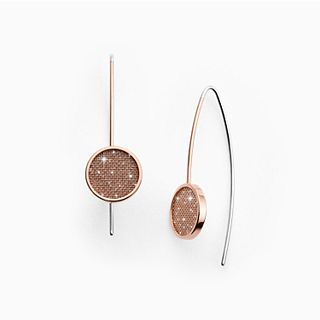 Merete Rose-Tone Brilliant Mesh Hook Earrings