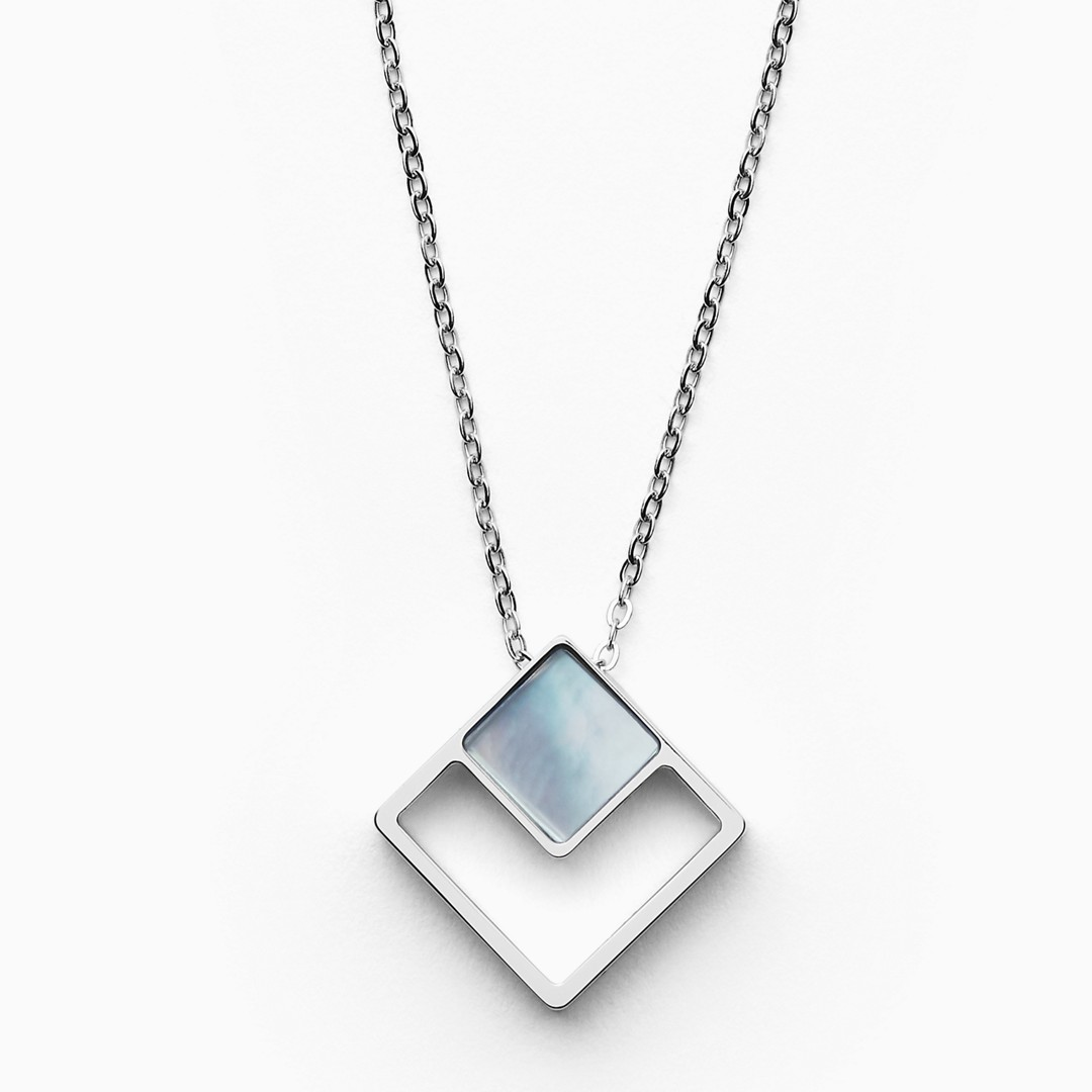 Agnethe Silver-Tone Mother-Of-Pearl Square Pendant Necklace  - SKJ1180040