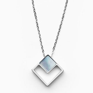 Agnethe Silver-Tone Mother-of-Pearl Square Pendant Necklace