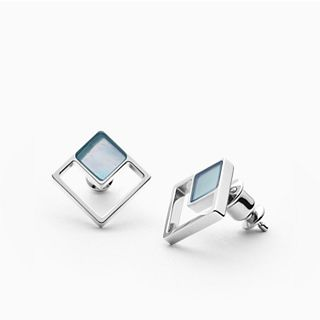 Agnethe Silver-Tone Mother-of-Pearl Square Stud Earrings