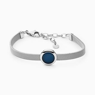 Sea Glass Silver-Tone Mesh Bracelet