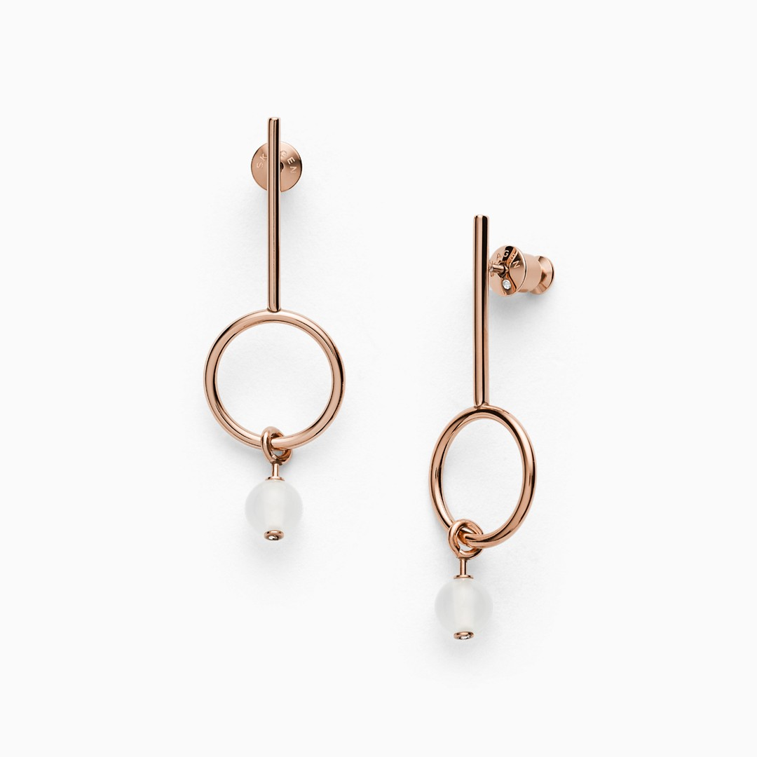 Sea Glass Beaded Rose-Tone Earrings  - SKJ1202791