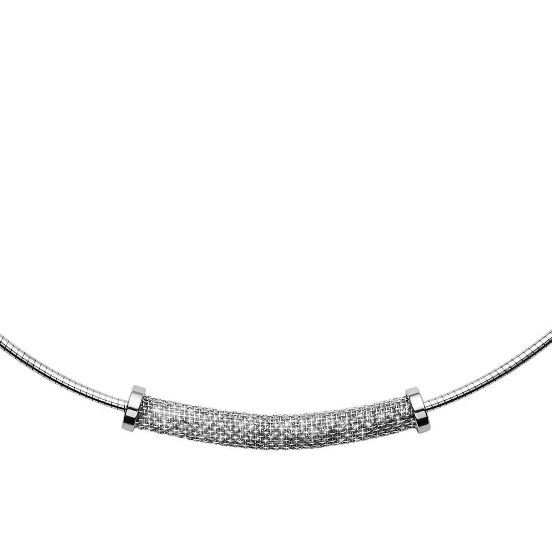 Merete Silver-Tone Brilliant Mesh Pendant Necklace  - SKJ1204040