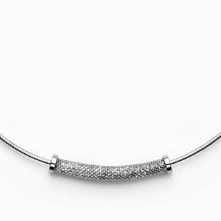 Merete Silver-Tone Brilliant Mesh Pendant Necklace