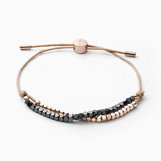 Anette Rose-Gold and Black Semiprecious Stone Bracelet