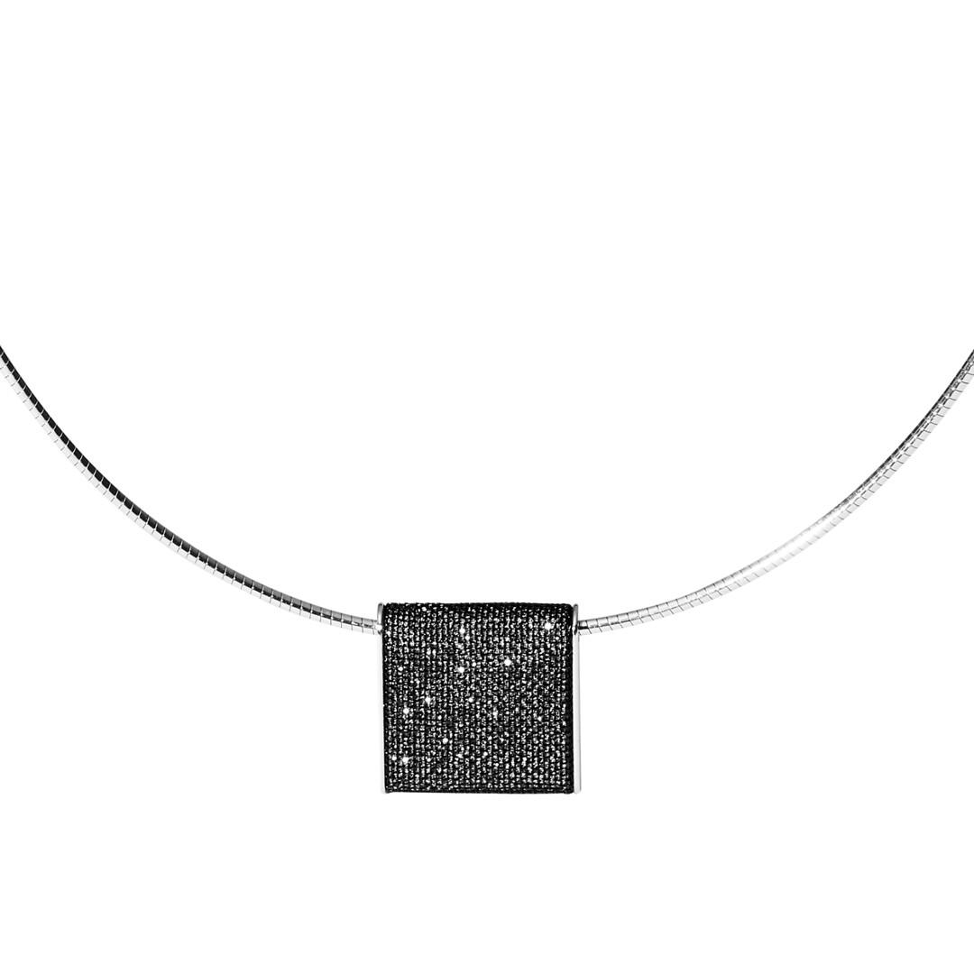 Merete Black Brilliant Mesh Pendant Necklace  - SKJ1218998