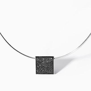Merete Black Brilliant Mesh Pendant Necklace
