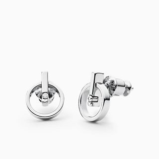 Helena SIlver-Tone Genuine Diamond Stud Earrings