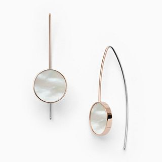 Agnethe Rose-Tone Mother-of-Pearl Hook Earrings