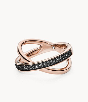 Merete Black Brilliant Mesh Ring