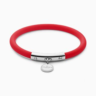 Blakely Red Silicone and Silver Tone Bracelet