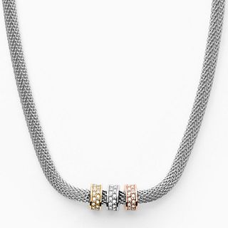 Merete Tri-Tone Stainless Steel-Mesh Necklace