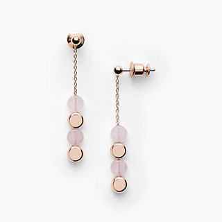 Ellen Rose-Tone Stainless Steel Rose Quartz Earrings