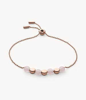 Ellen Rose-Tone Stainless Steel Rose Quartz Bracelet