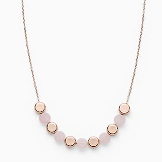 Ellen Rose-Tone Stainless Steel Rose Quartz Necklace