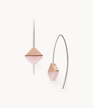 Ellen Rose-Tone Stainless Steel and Rose Quartz Earrings