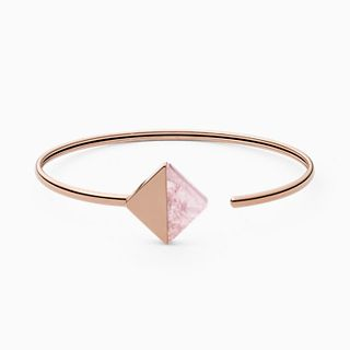 Ellen Rose-Tone Stainless Steel and Rose Quartz Bracelet