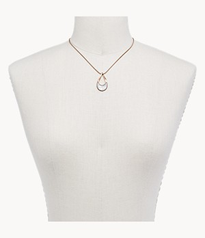 Agnethe Rose-Tone Stainless Steel and Mother-of-Pearl Necklace