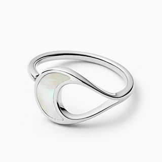 Agnethe Silver-Tone Stainless Steel and Mother-of-Pearl Ring