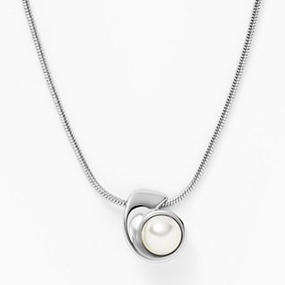 Agnethe Silver-Tone Stainless Steel and Faux Pearl Necklace