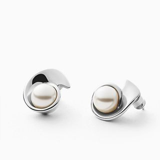 Agnethe Silver-Tone Stainless Steel and Faux Pearl Earrings
