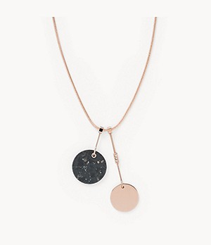 Ellen Rose-Tone Stainless Steel and Marble Necklace