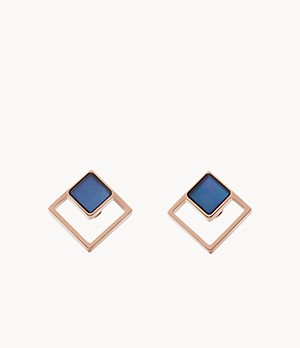 Agnethe Rose-Tone Mother-of-Pearl Square Stud Earrings