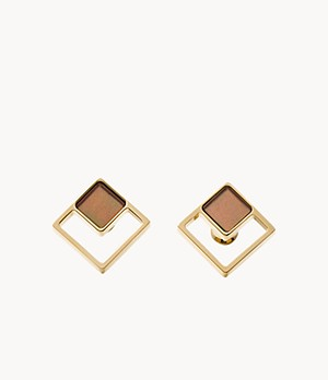 Agnethe Gold-Tone Mother-of-Pearl Square Stud Earrings