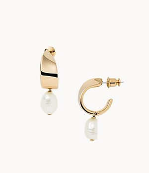 Agnethe Gold-Tone Freshwater Pearl Hoop Earrings