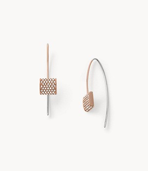 Elin Rose-Tone Stainless Steel Drop Earrings