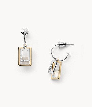 Agnethe Two-Tone Mother-of-Pearl Hoop Earrings