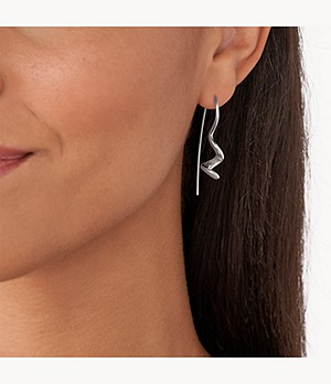 Kariana Silver-Tone Stainless Steel Drop Earrings