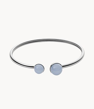Sea Glass Silver-Tone Stainless Steel Bangle