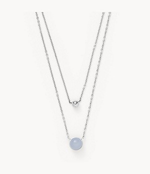 Sea Glass Silver-Tone Stainless Steel Multi-Strand Necklace