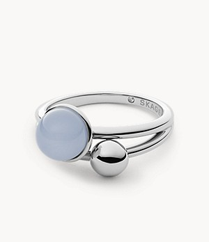 Sea Glass Silver-Tone Stainless Steel Ring