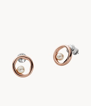 Agnethe Rose-Tone Stainless Steel Pearl Stud Earrings