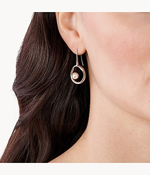 Agnethe Rose-Tone Stainless Steel Pearl Drop Earrings