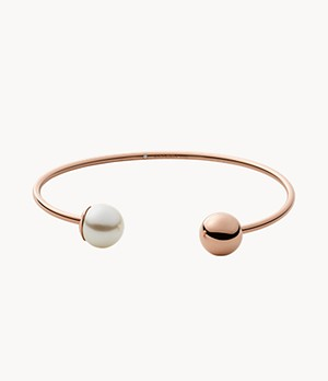Agnethe Rose-Tone Stainless Steel Pearl Cuff Bracelet